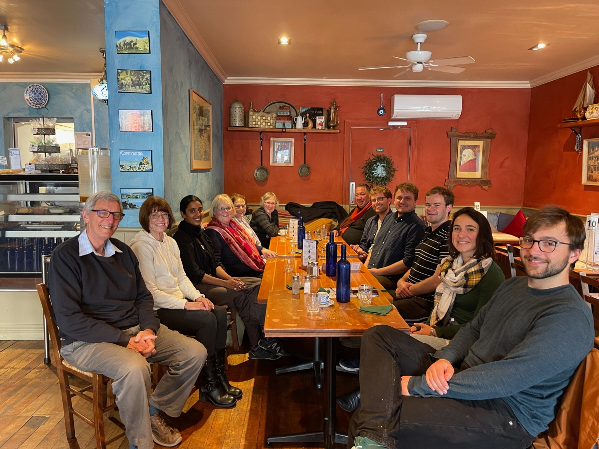 Tephra seismites group and supporters at lunch